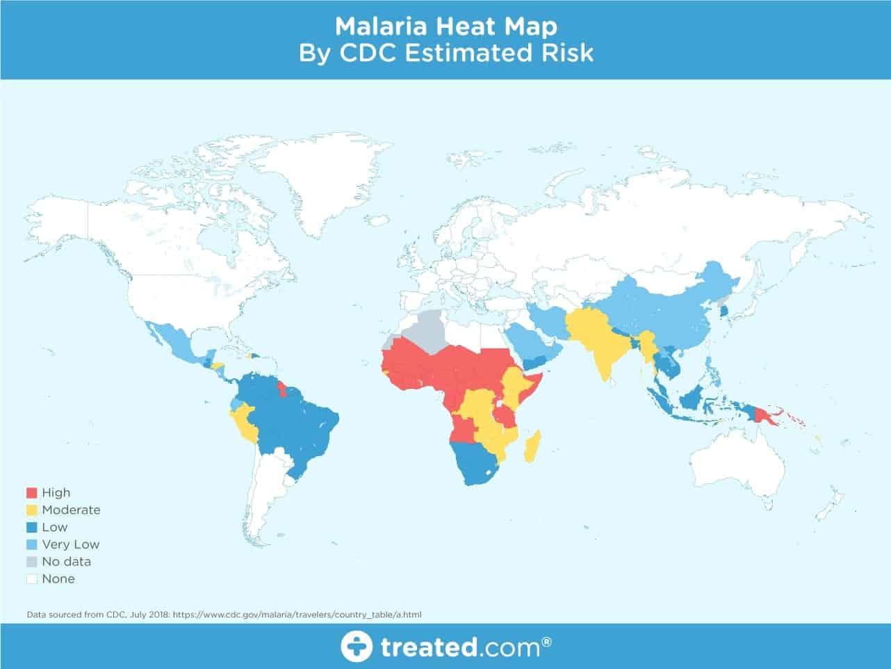 carte zones à risque Malaria Monde