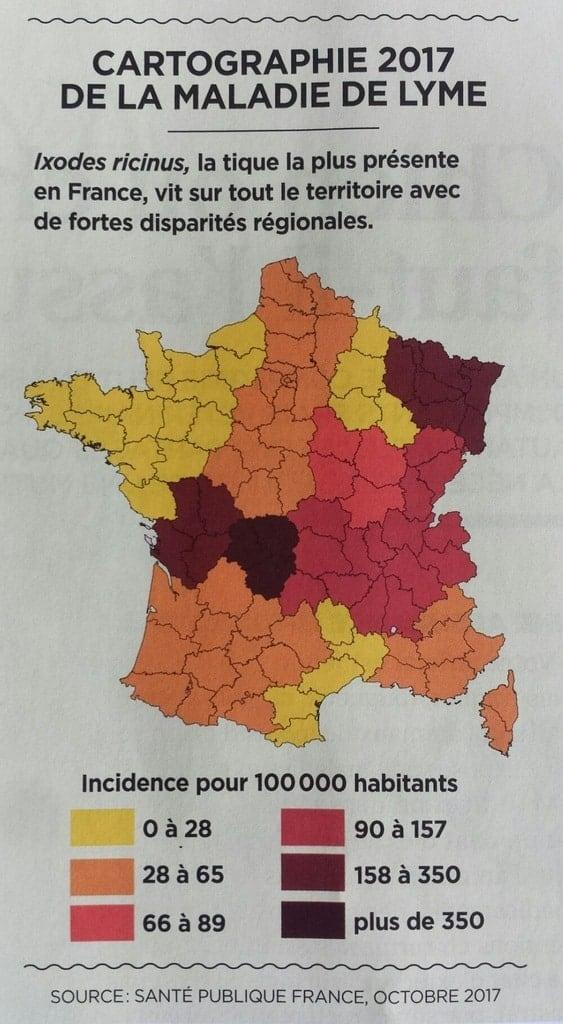 carte maladie de Lyme France
