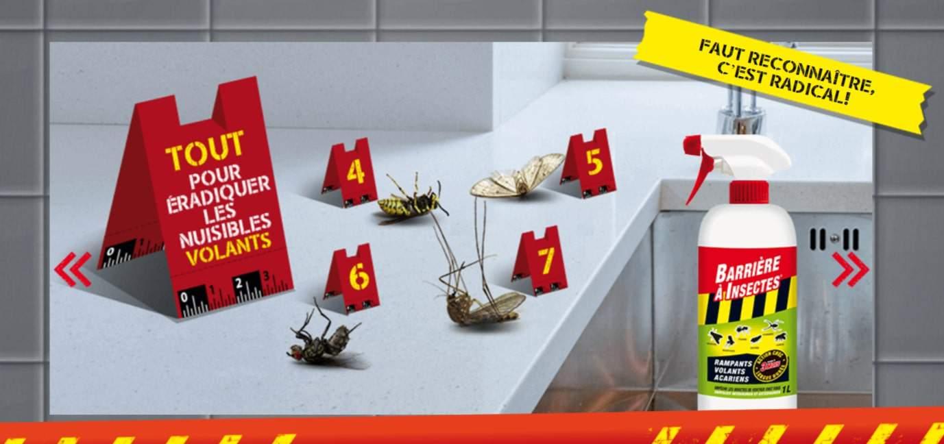 Mise en scène de la publicité Barrière à insectes