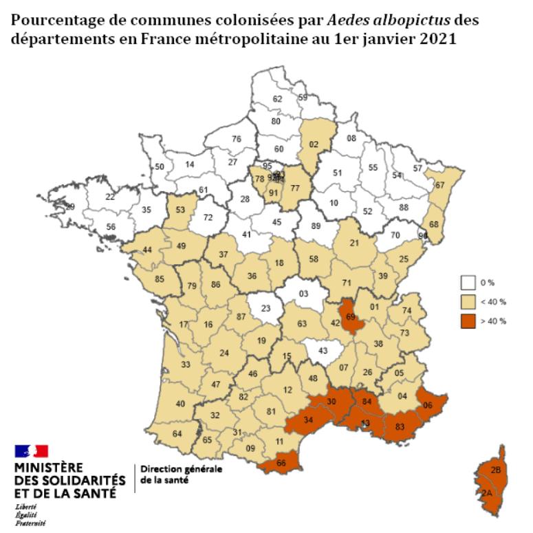 Cartes des communes françaises colonisées par le moustique tigre