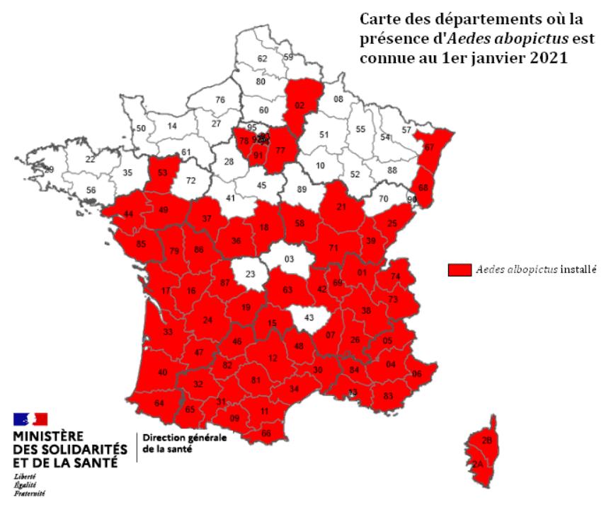 Carte France colonisation moustique tigre