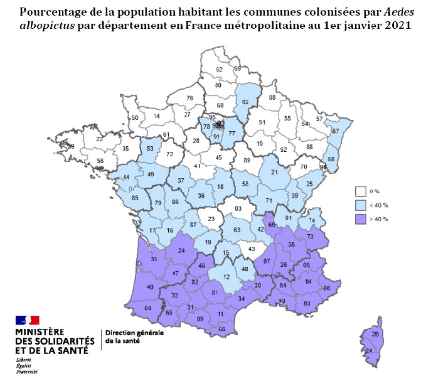 Carte de la population française exposée au moustique tigre